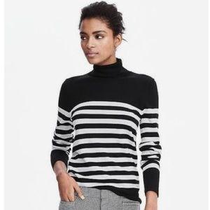 Banana Republic Black Striped Turtleneck Sweater